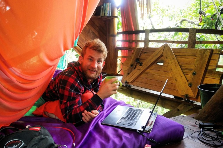 Working in the treehouse