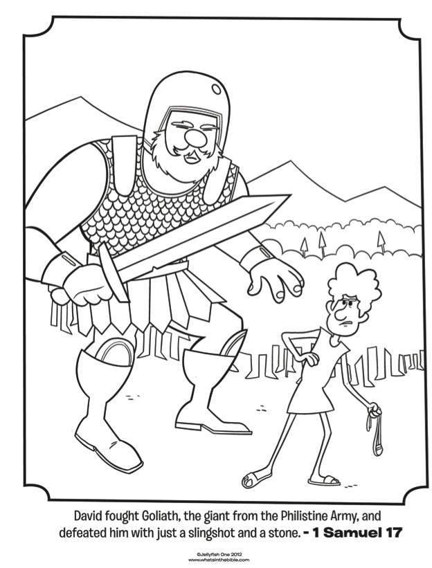 david and goliath  bible coloring pages  what's in the