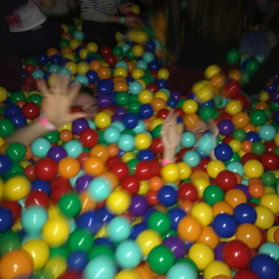 Adult ball pit fun on What's Katie Doing? blog