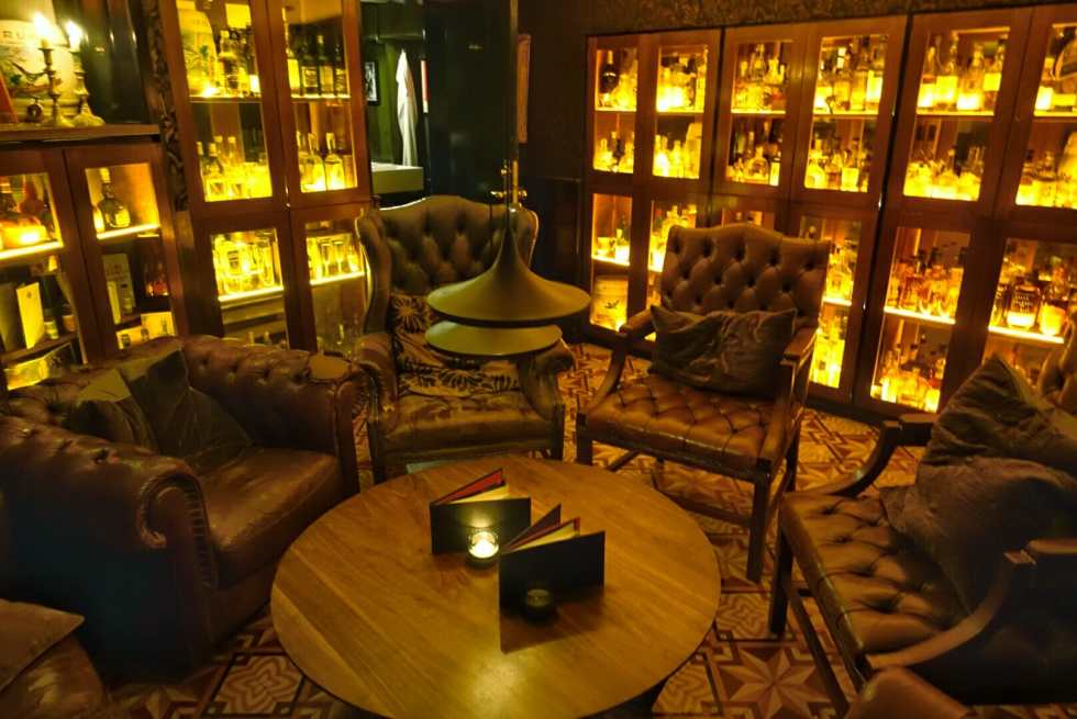 The cosy whiskey room area
