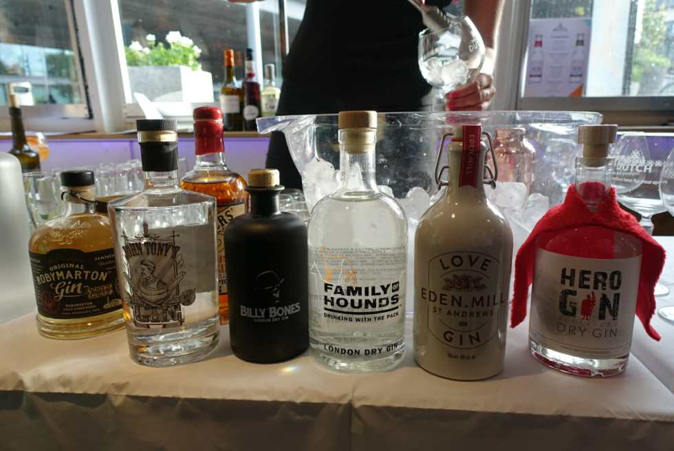 A selection of gins on the bar