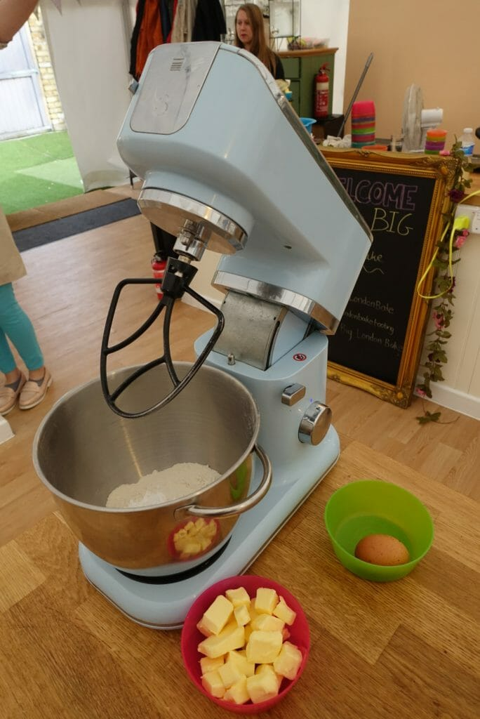 Mixer and ingredients to make pastry