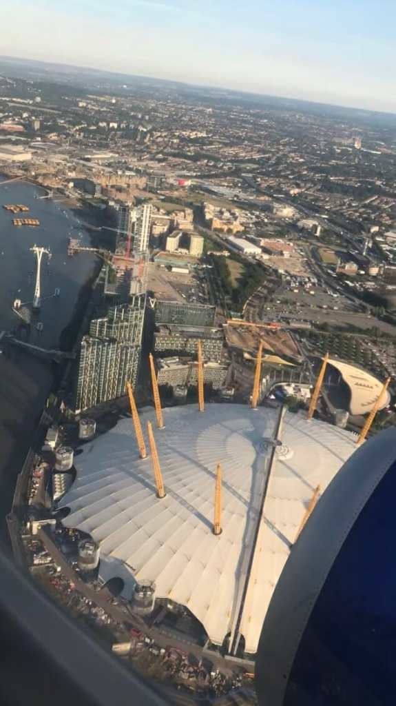 VIew of the O2 from my airplane window