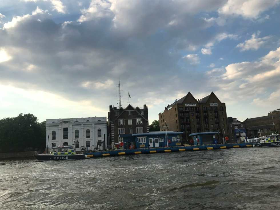 The floating Police boat station on the Thames