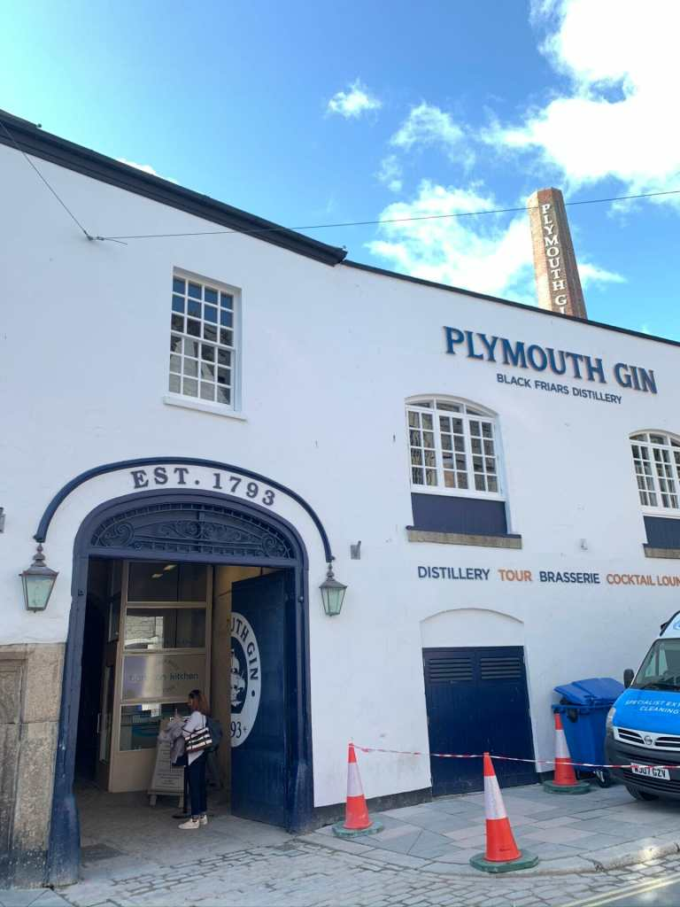 The outside of the Plymouth Distillery