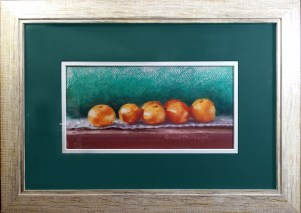 """Clementines"", original pastel, 5"" x 10"" art size, 10"" x 15"" framed size"