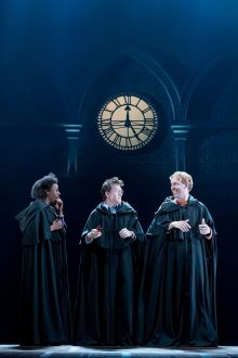 L-R Noma Dumezweni (Hermione Granger), Jamie Parker (Harry Potter) and Paul Thornley (Ron  Weasley). Photo by Manuel Harlan