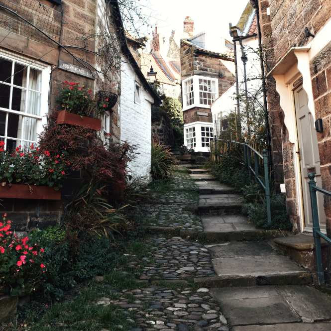 The beautiful windy streets in the old fishing village of Robin Hood's Bay, Yorkshire. One of the most beautiful villages in Yorkshire.