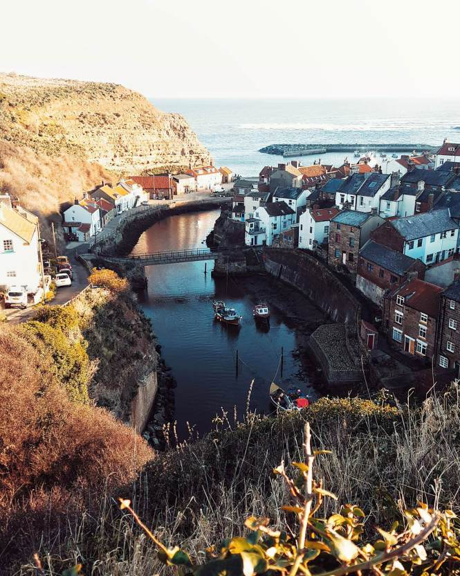 A view over Staithes fishing village, ,North Yorkshire coast