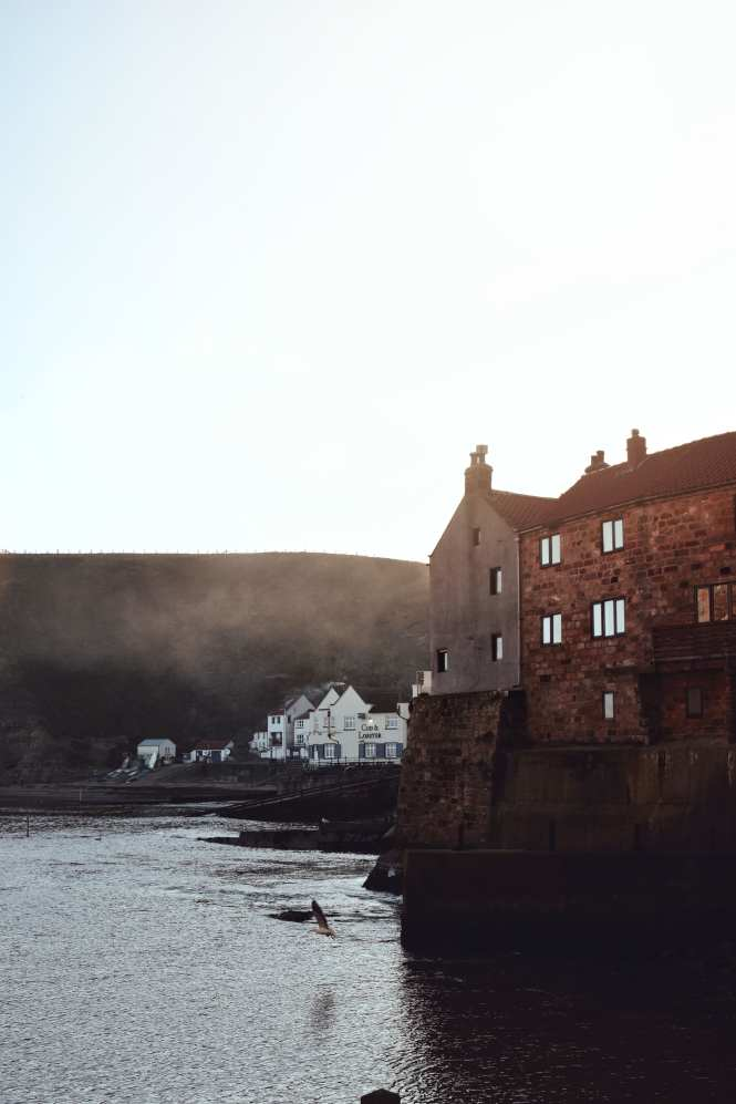 Staithes Bay water front in winter, Yorkshire