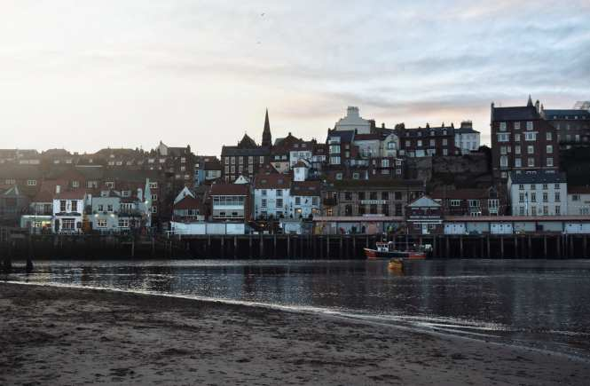 Whitby Harbour at sunset, North Yorkshire coast