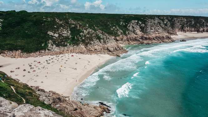 The stunning Porthcurno Beach, Cornwall