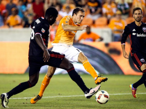 Houston Dynamo forward Andrew Wenger shoots the ball during the second half against D.C. United. (Troy Taormina, USA TODAY Sports, Troy Taormina)