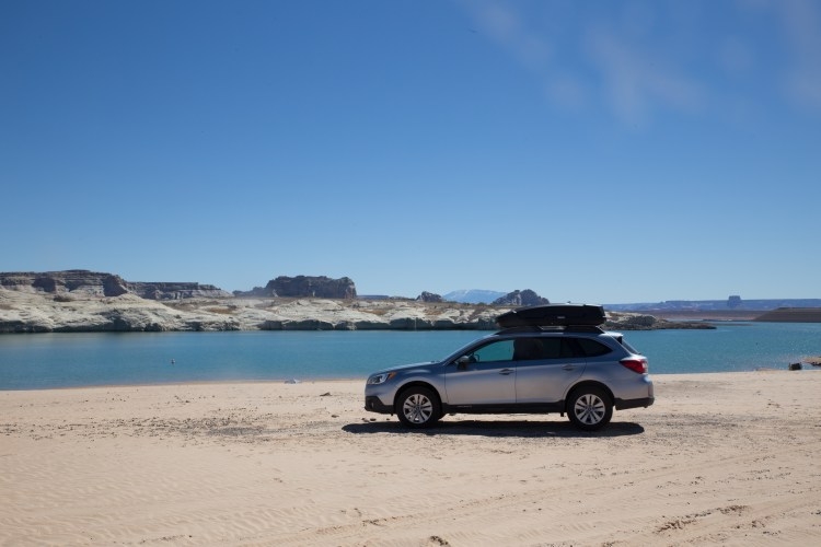 Subaru Outback at Lake Powell Beach