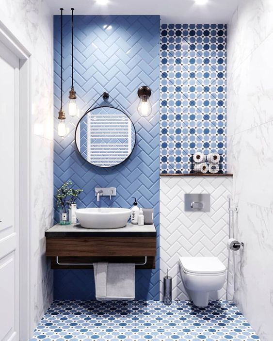 blue geometric tile what s under your
