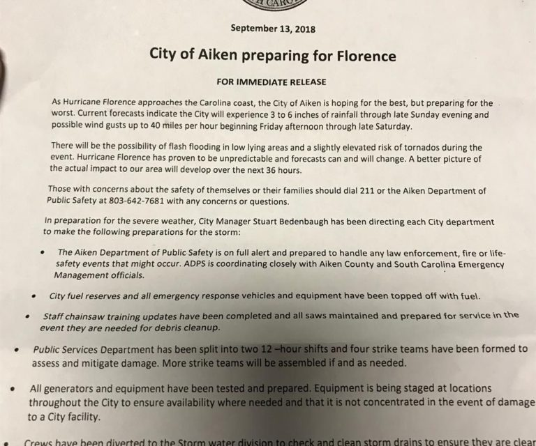 City of Aiken prepares for Hurricane Florence