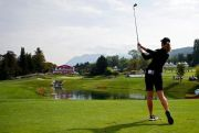 (AP Photo/Francois Mori). Amy Olson of the U.S. tees off to the 5th hole during the fourth round of the Evian Championship women's golf tournament in Evian, eastern France, Sunday, Sept. 16, 2018.