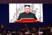 (AP Photo/Lee Jin-man). Members of media watch a huge screen showing North Korean leader Kim Jong Un speaks during a joint press conference in Pyongyang, North Korea, at a press center for the inter-Korean summit in Seoul, South Korea, Wednesday, Sept....
