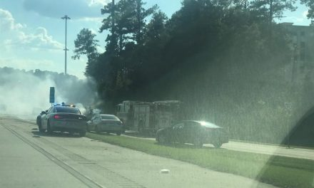 UPDATE: All lanes back open after burning vehicle backs up traffic on I-20