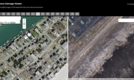 Interactive slider tool shows before and after images of damage from Hurricane Florence