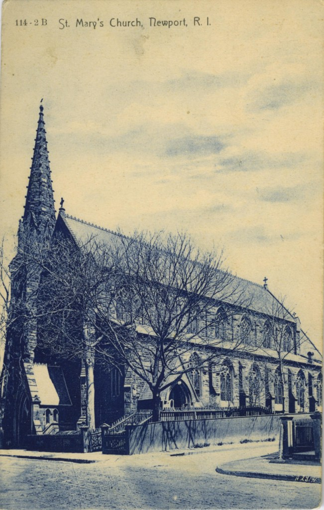 St.Mary'sChurch,Newport, RI_old postcard (B&W)