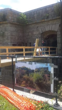A wooden pedestrian bridge was constructed spanning a 12 foot deep moat to provide entry into the Fort structure, the bridge is 45 feet in length, and 6 feet wide.