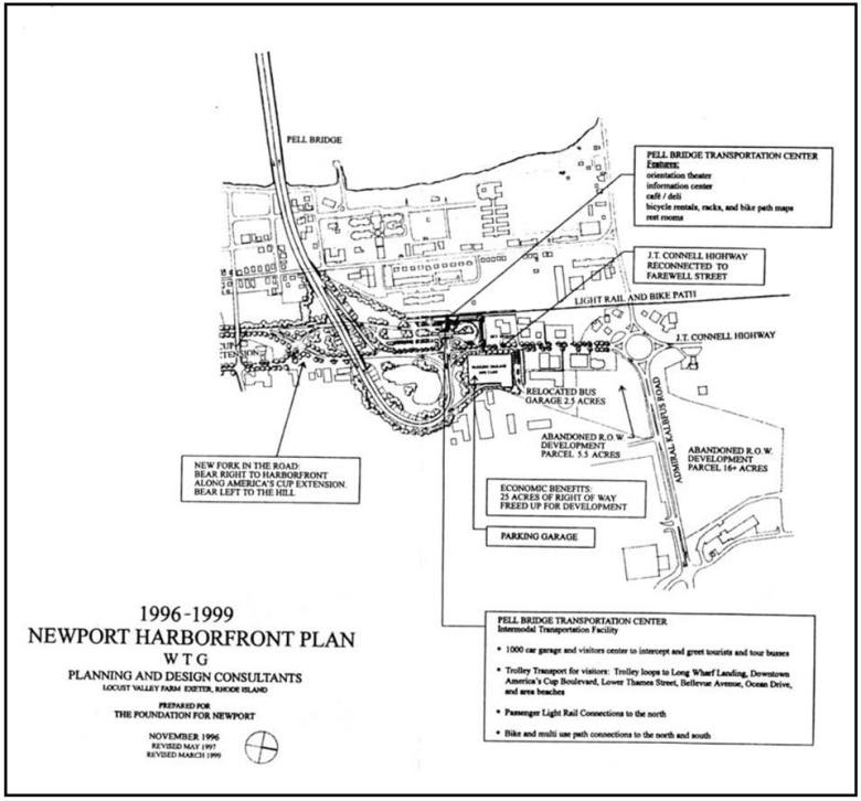 Here's one idea. Old plan for North End development (including a transportation hub and light rail at base of the Newport Bridge). Although, that plan called for a light rail from North End to Fall River and Boston, which isn't feasible and practical.