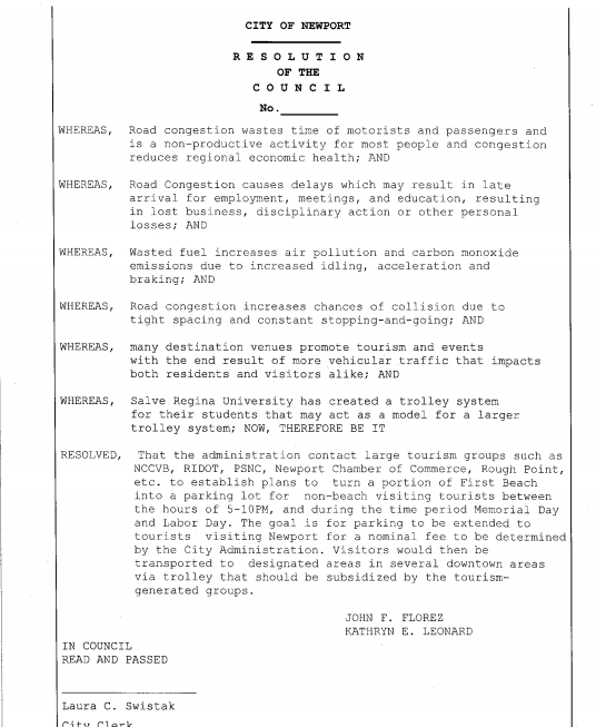 Resolution that will be introduced at July 27th Newport City Council Meeting