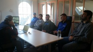 Team Captains from Salve Regina Football stopped by the What'sUpNewp office on Tuesday