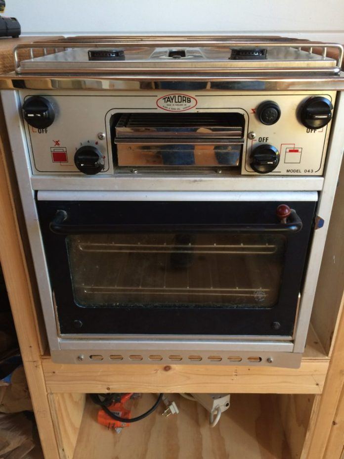 The reclaimed propane stove was once a boat stove.