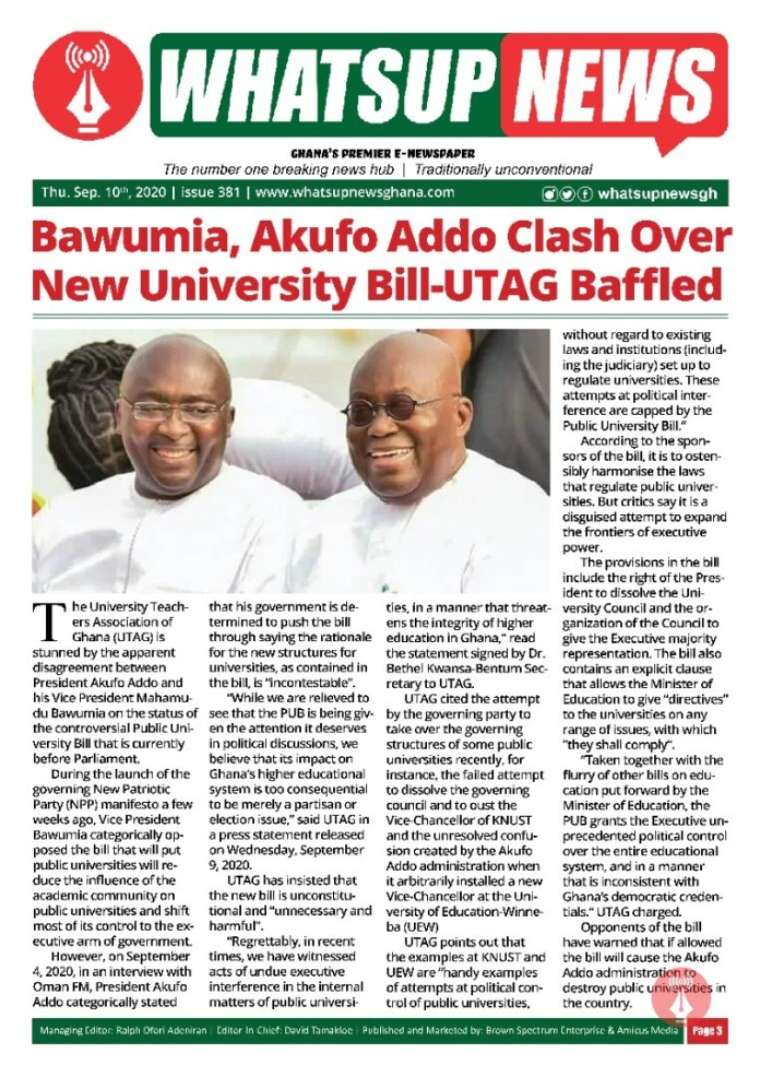 Bawumia, Akufo Addo Clash Over New University Bill-UTAG Baffled