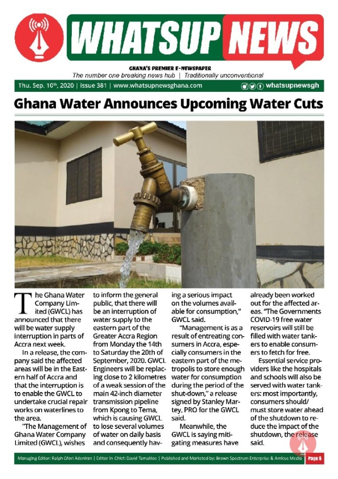 Ghana Water Announces Upcoming Water Cuts