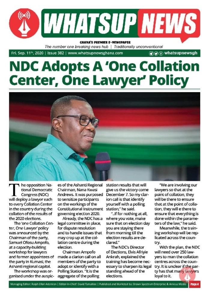 NDC Adopts A 'One Collation Center, One Lawyer' Policy