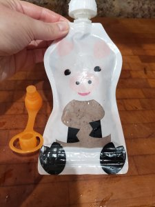smoothie pouch with pig on front for toddler.