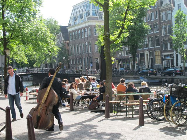 Terrace along Amsterdam canal