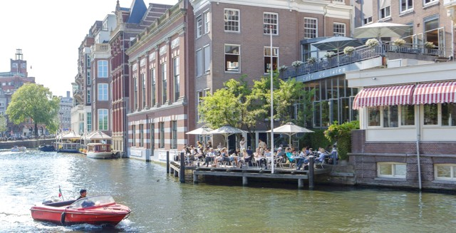 Terrace along Amsterdam canals