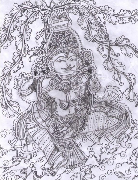 Kerala Mural Designs - Krishna   Whats Ur Home Story
