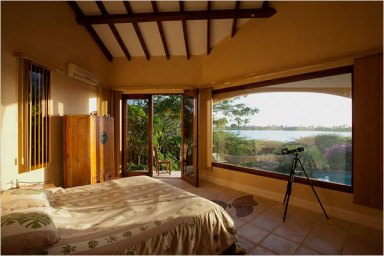 bedroom with a water view