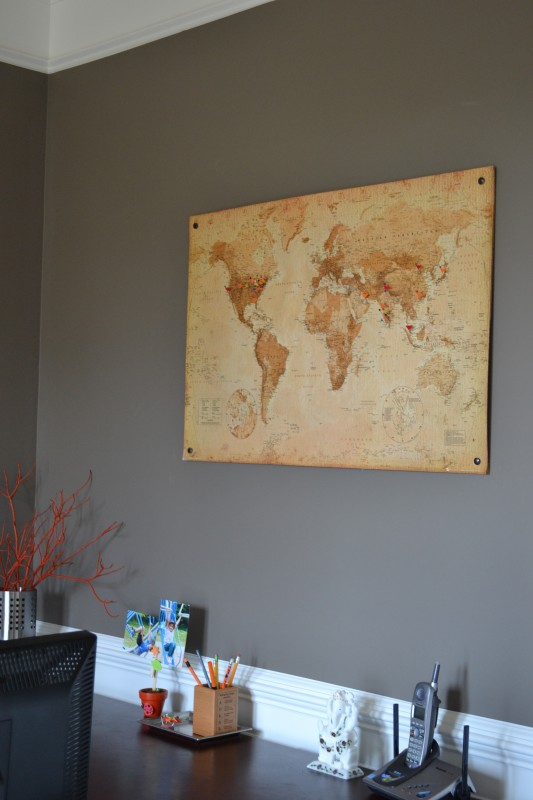 map cork board, office room makeover