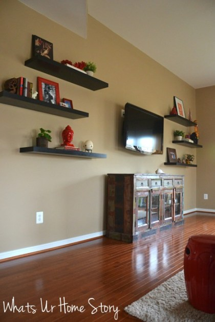 Whats Ur Home Story: Reclaimed wood media console, reclaimed wood buffet, industrial sideboard, floating shelves, decorating with floating shleves