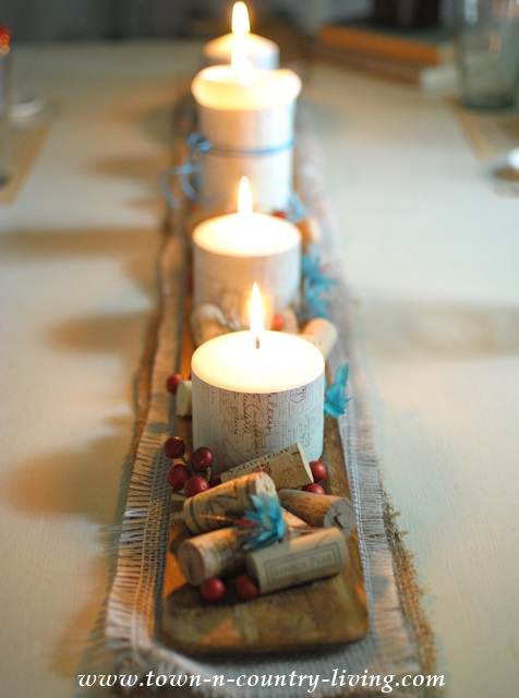 Candles-on-French-Breadboard-Centerpiece