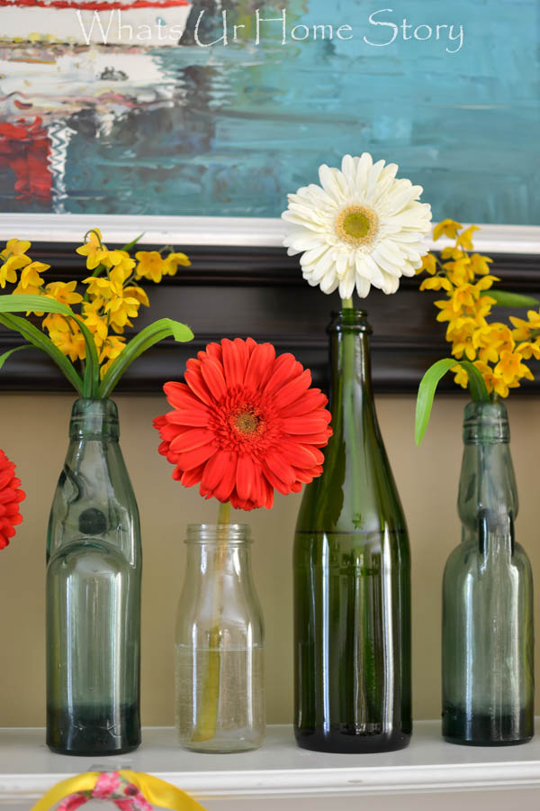 gerber daisy mantel decorating