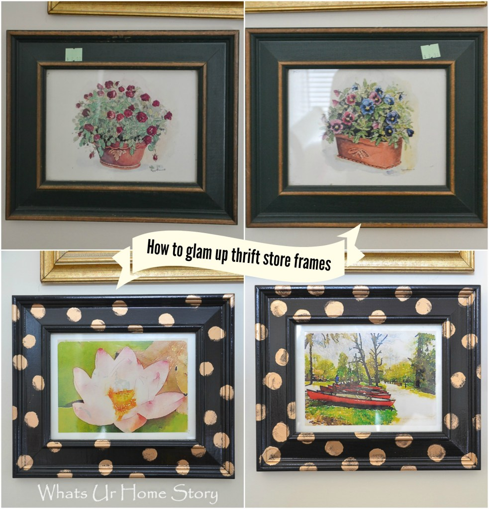 Turn thrift store frames into high end looking polka dot frames