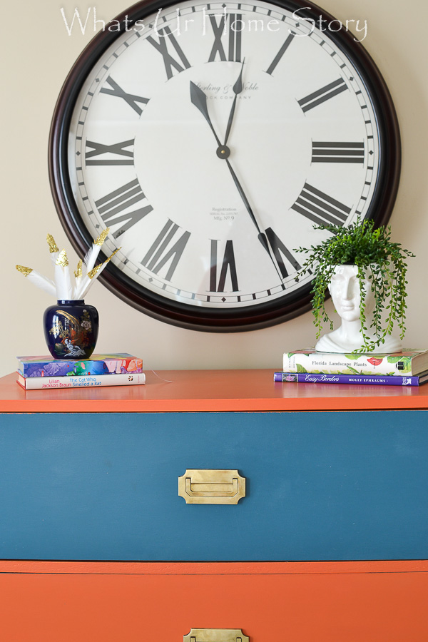 coral and navy dresser; General Finishes Persimmon and Annie Sloan Aubusson Blue