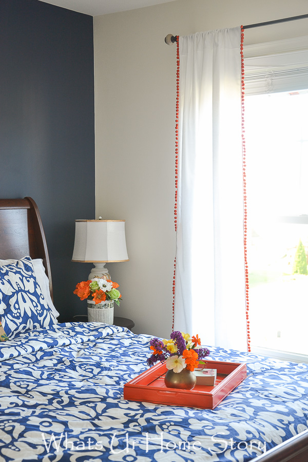 diy curtains with coral pom pom fringe