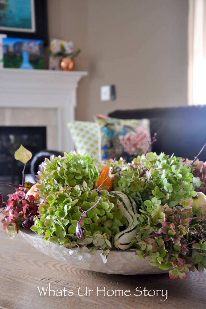 Fall centerpiece with pumpkins, gourds, and hydrangeas; Rustic Centerpiece with Hydrangeas & Mini Gourds