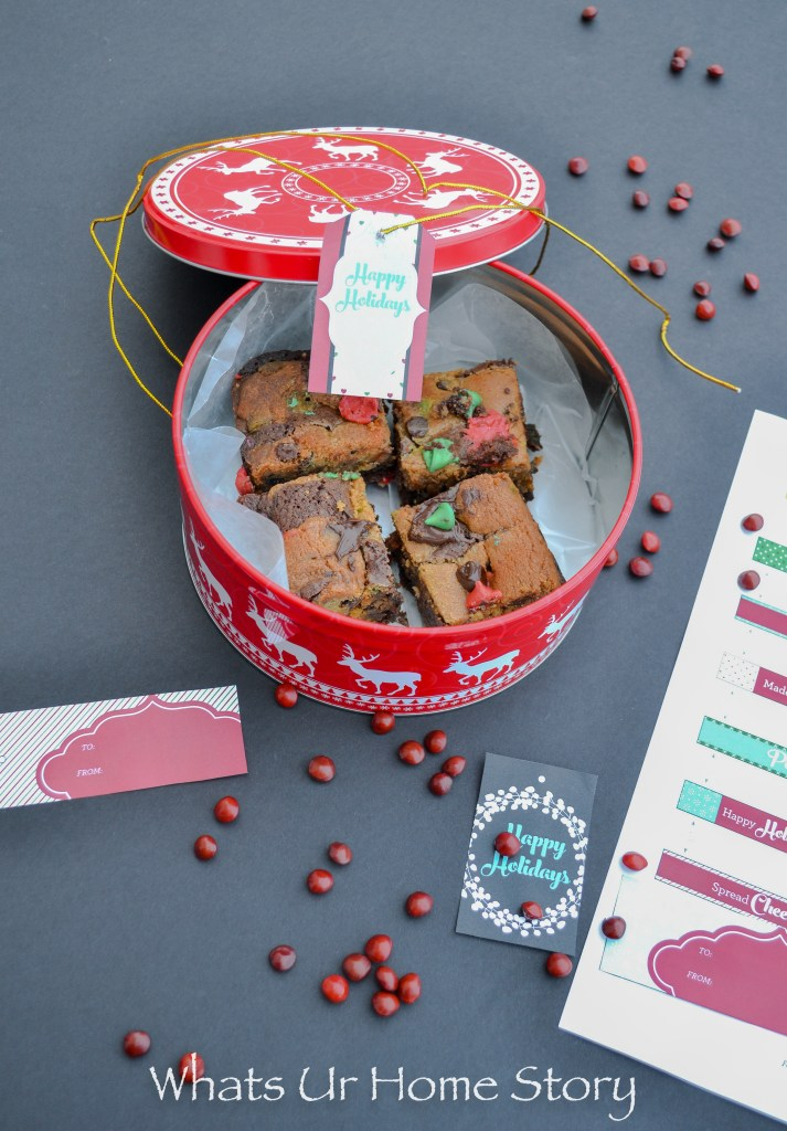 A box of Brookies dressed up with Nestle gift tags makes for a great holiday gift