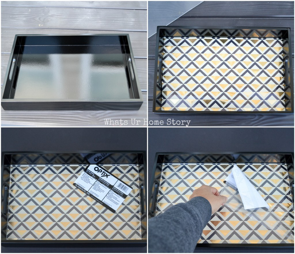 Serving tray makeover with wrapping paper and acrylic sheet