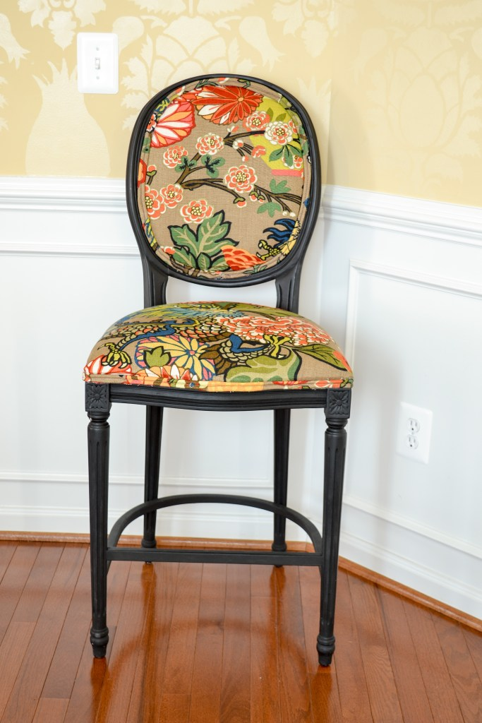 Chiang Mai Dragon Fabric used to uploholster a chair