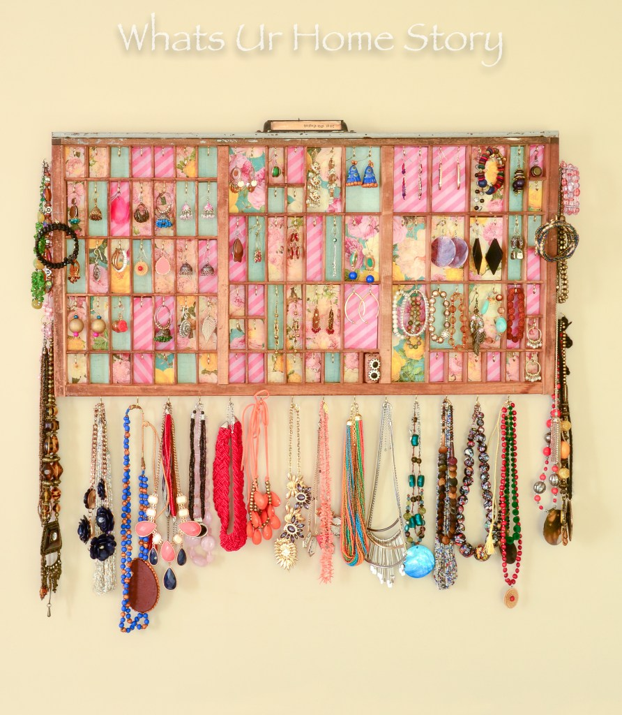 DIY Jewelry Organizer from a vintage printer's tray- Letterpress Tray Jewelry Holder-0826